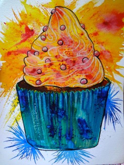I'm interested in existential problems of the 21st century but as this is a huge subject to tackle here is a picture of a cupcake 2012. Mixed Media.