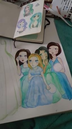 Watercolours.