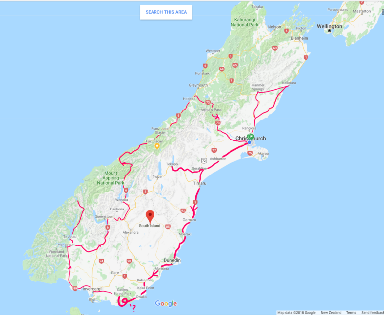 Map of South Island New Zealand